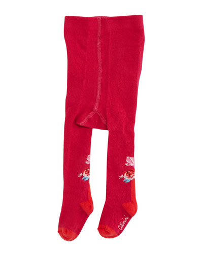 Floral-Intarsia Footed Tights, Fuchsia, Size 6M-6