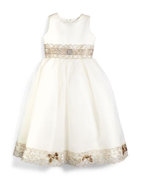 Joan Calabrese Sleeveless Metallic-Trim Satin & Tulle Dress,