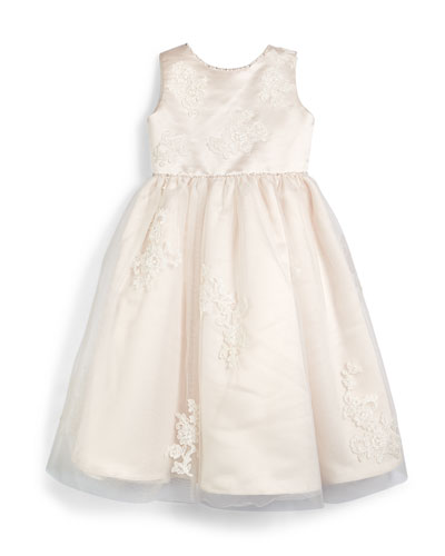 Sleeveless Lace-Trim Satin & Tulle Dress, Petal/Ivory, Size 4-8