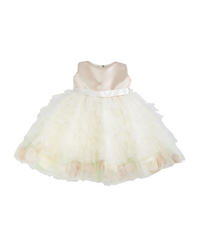 Sleeveless Satin & Tulle Dress, Petal/Ivory, Size 6-24 Months