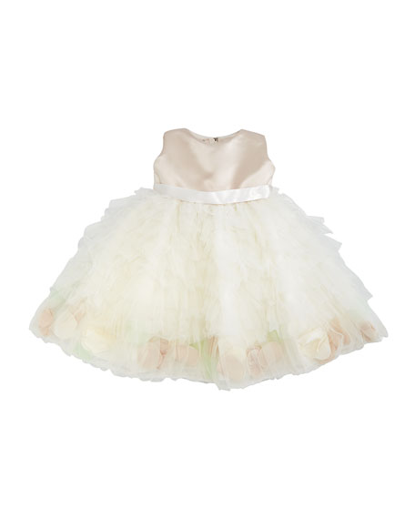 Joan Calabrese Sleeveless Satin & Tulle Dress, Petal/Ivory,