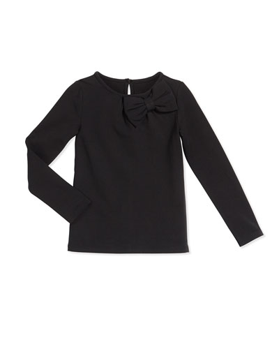 long-sleeve bow-trim knit top, black, size 2-6