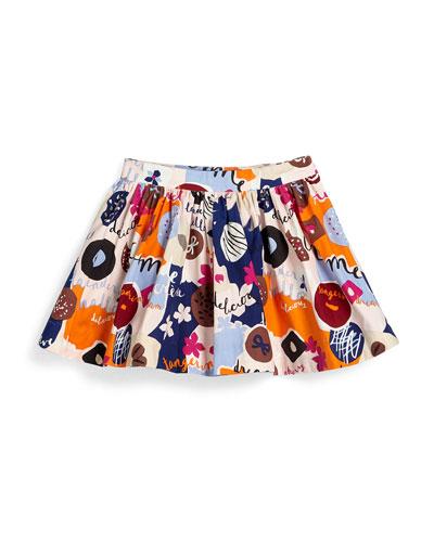 sweets poplin a-line skirt, multicolor, size 7-14