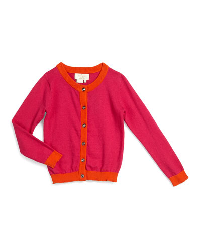 contrast-trim sofia button-front cardigan, sweetheart pink, size s-xl