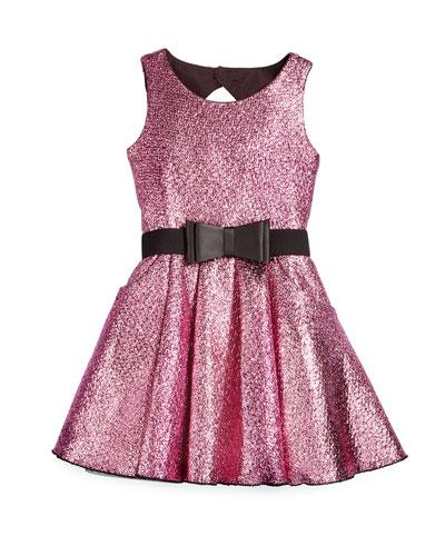 Snake-Print A-Line Foil Dress, Pink, Size 7-14