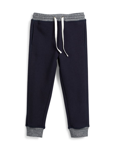 Terry-Lined Colorblock Sweatpants, Coastal, Size 2-7