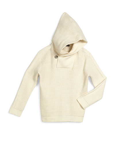 Thermal-Knit Hooded Sweater, Mist, Size 2-7