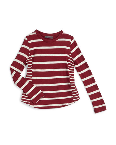 Long-Sleeve Striped Jersey-Knit Top, Merlot, Size 2-6