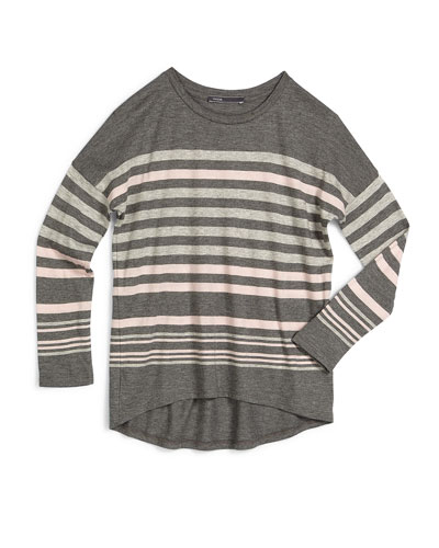 Long-Sleeve Favorite Striped Tee, Carbon, Size S-XL