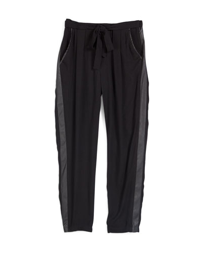 Pleated Tuxedo-Striped Trousers, Black, Size S-XL