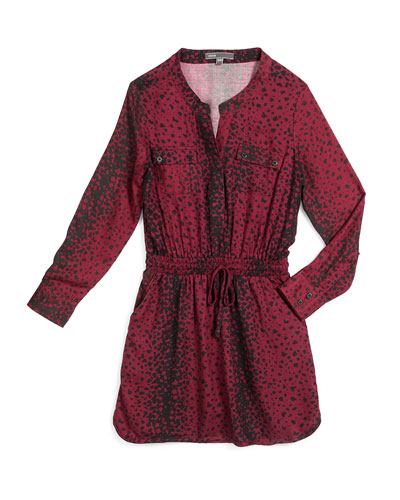 Long-Sleeve Printed Drawstring Shirtdress, Merlot, Size S-XL