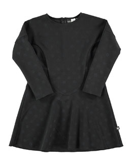 Ciera Polka-Dot Dress, Black, Size 3-14