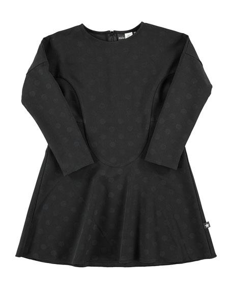molo Ciera Polka-Dot Dress, Black, Size 3-14
