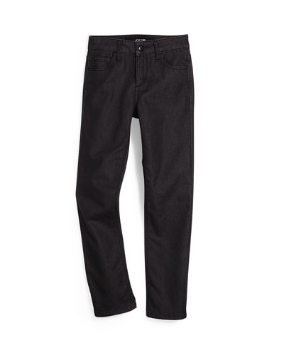 Terry-Lined Slim-Fit Jeans, Black, Size 8-16