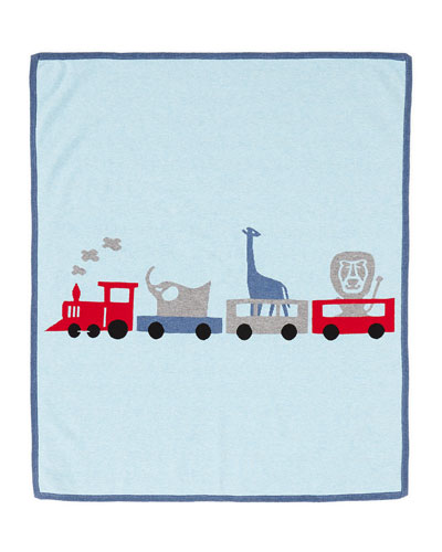 Cashmere-Blend Animal Train Blanket, Chambray Blue