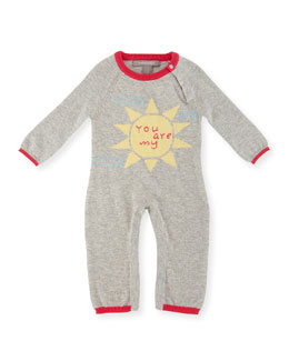 Cashmere-Blend You Are My Sunshine Coverall, Gray, Size Newborn-12 Months