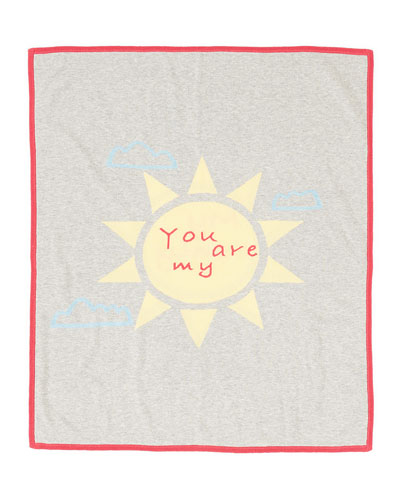 Cashmere-Blend You Are My Sunshine Blanket, Gray
