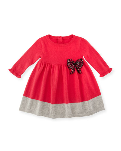 Long-Sleeve Cashmere-Blend Sweaterdress, Bright Pink, Size 6M-3
