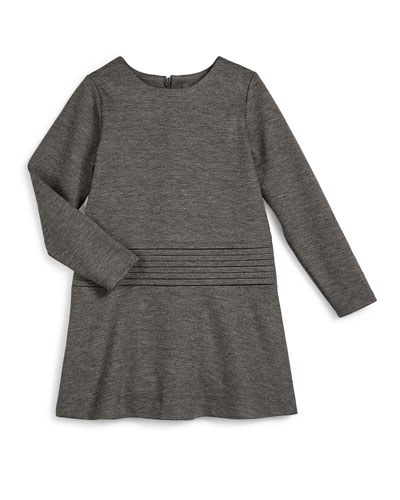 Long-Sleeve Knit Cummerbund Shift Dress, Carbon, Size 2-6