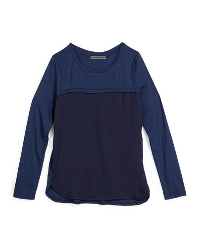 Long-Sleeve Combo Tee, Blue Marine, Size S-XL