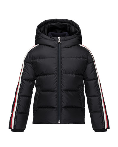Moncler Odile Hooded Down Coat, Navy, Size 2-3