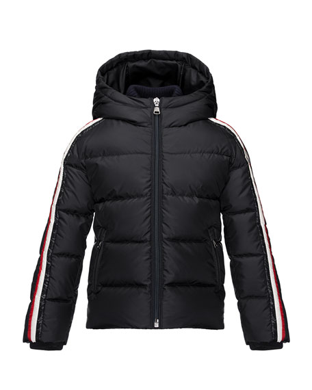 Moncler Odile Hooded Down Coat, Navy, Size 4-6