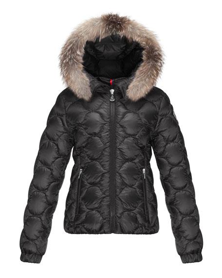 Moncler Morgaine Fur-Trim Hooded Down Coat, Black, Size 8-14