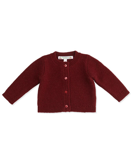 Bonpoint Crochet Button-Front Cardigan, Brick Red, Size 2