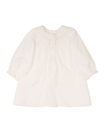 Poplin Lace-Trim Shift Dress, White, Size 18M-2