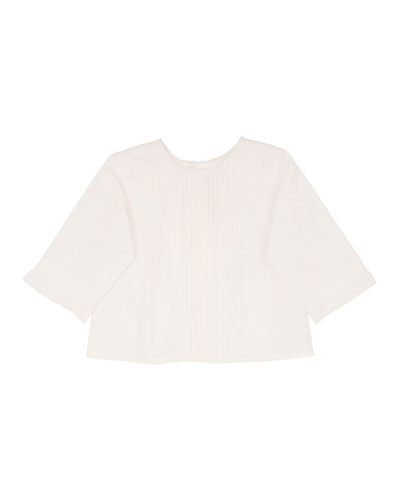 Poplin Lace-Trim Blouse, White, Size 18M-2