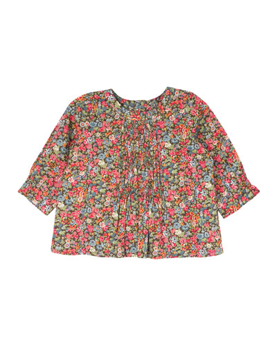 Shirred Floral-Print Blouse, Raspberry, Size 18M-2