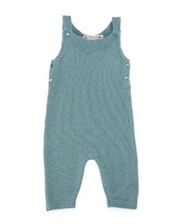 Knit Wool Overalls, Aqua Blue, Size Newborn-6 Months