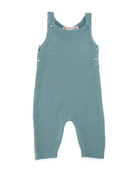 Bonpoint Knit Wool Overalls, Aqua Blue, Size Newborn-6
