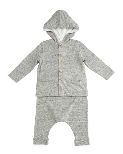 Slub-Knit Hooded Sweatshirt & Pants, Gray, Size 3-6 Months