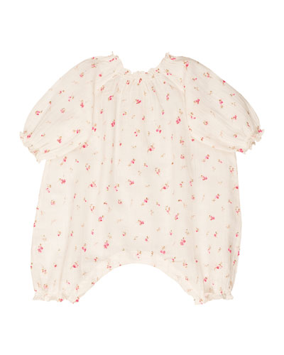 Floral Bubble Cotton Coverall, Ivory, Size 6 Months