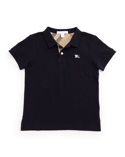 Linter Check-Trim Polo, Navy, 4Y-14Y