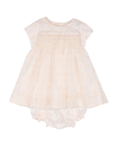 Embroidered Floral Cap-Sleeve Dress & Bloomers, Cream, Size 12 Months