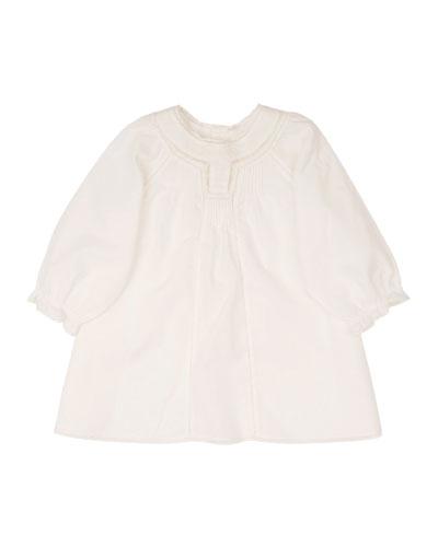 Poplin Lace-Trim Shift Dress, White, Size 6-12 Months