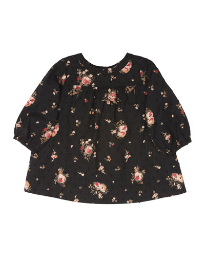 Long-Sleeve Floral Shift Dress, Black, Size 6-12 Months