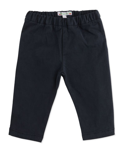 Twill Straight-Leg Pants, Dark Charcoal Gray, Size 6-12 Months