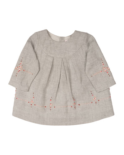 Embroidered Cotton-Poplin Shift Dress, Gray, Size 6-12 Months