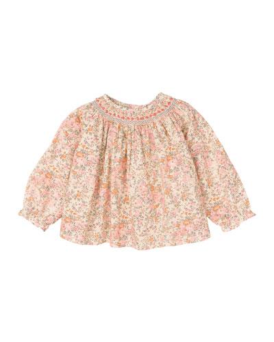 Long-Sleeve Floral-Print Cotton Blouse, Pale Pink, Size 6-12 Months