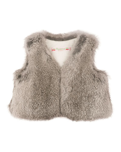 Rabbit-Fur Vest, Gray, Size 6-12 Months