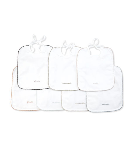Bonpoint Cotton 7-Day Bib Set, White