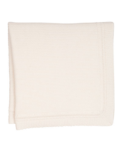 Cashmere Crochet Baby Blanket, Pale Pink
