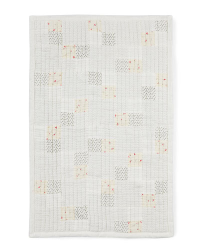 Quilted Polka-Dot Grid Baby Blanket, White