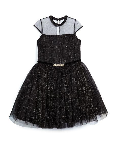 David Charles Glittered Cap-Sleeve Tulle Dress, Black, Size