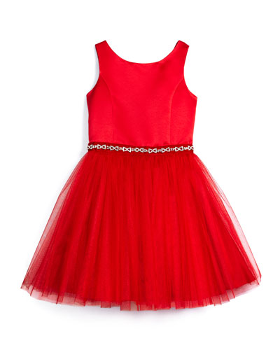 Open-Back Satin & Tulle A-Line Dress, Red, Size 8-14