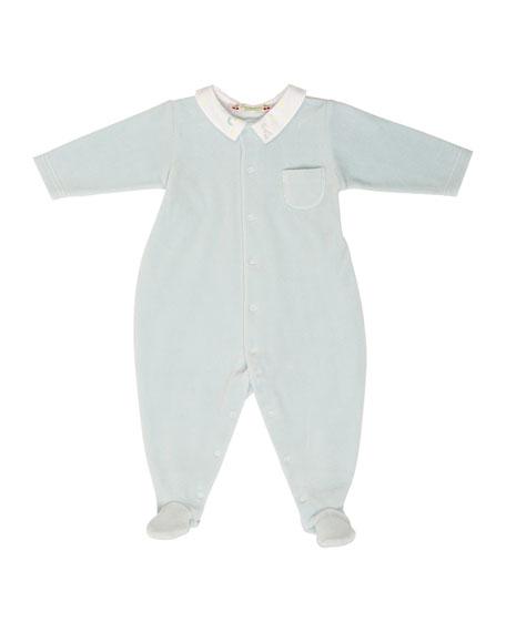 Bonpoint Long-Sleeve Velvet Footie Pajamas, Light Blue, Size