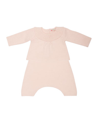 Cashmere Knit Top & Pants, Pale Pink, Size 3 Months